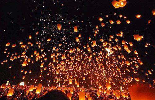 5000 lampion hiasi borobudur di acara waisak 2016